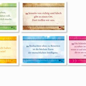 Kartenset: Postkarten mit Zitaten gestaltet von Anja Escherich